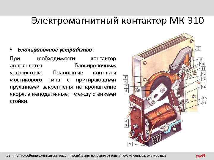 Электромагнитный контактор МК-310 • Блокировочное устройство: При необходимости контактор дополняется блокировочным устройством. Подвижные контакты