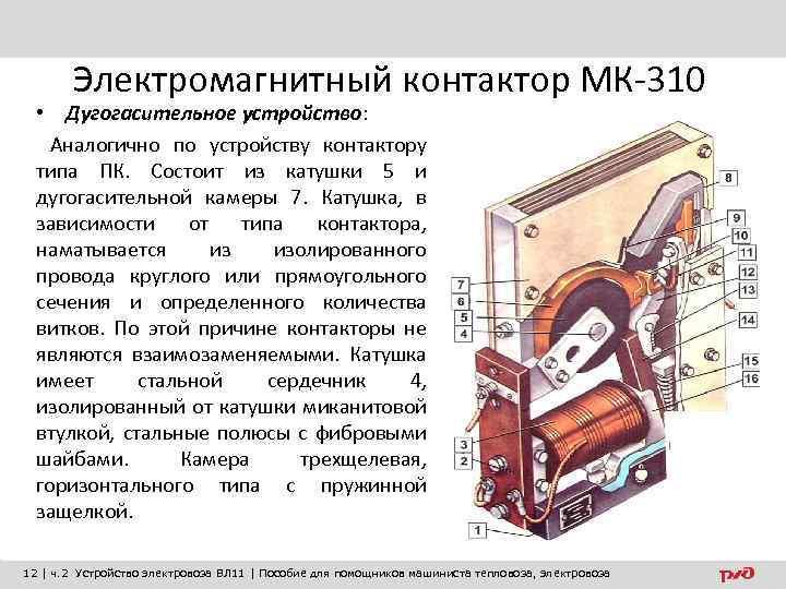 Электромагнитный контактор МК-310 • Дугогасительное устройство: Аналогично по устройству контактору типа ПК. Состоит из