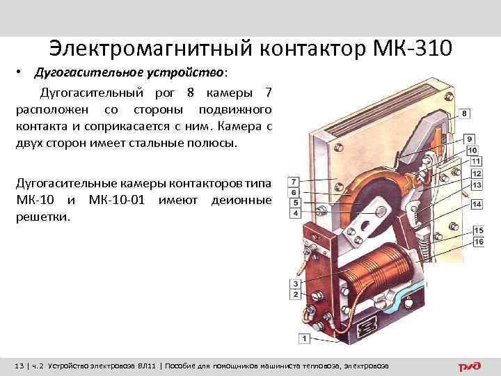 Электромагнитный контактор МК-310 • Дугогасительное устройство: Дугогасительный рог 8 камеры 7 расположен со стороны