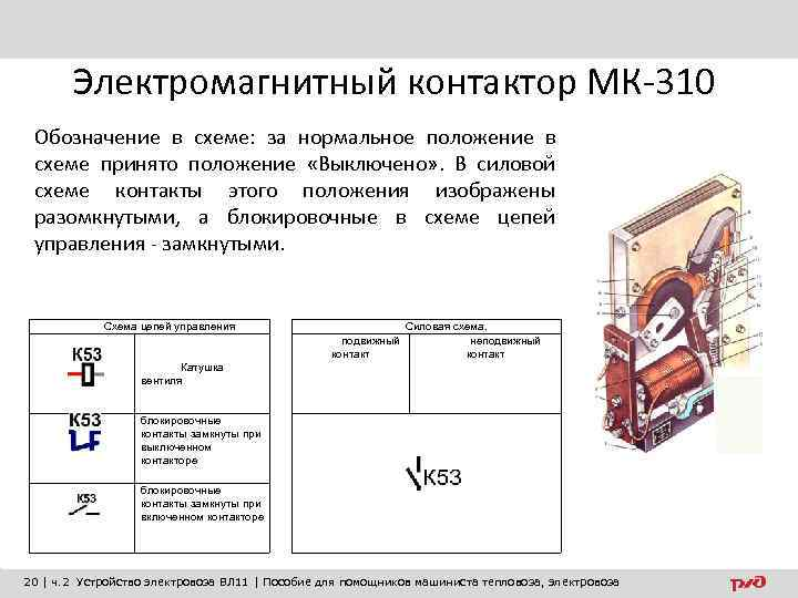 Электромагнитный контактор МК-310 Обозначение в схеме: за нормальное положение в схеме принято положение «Выключено»