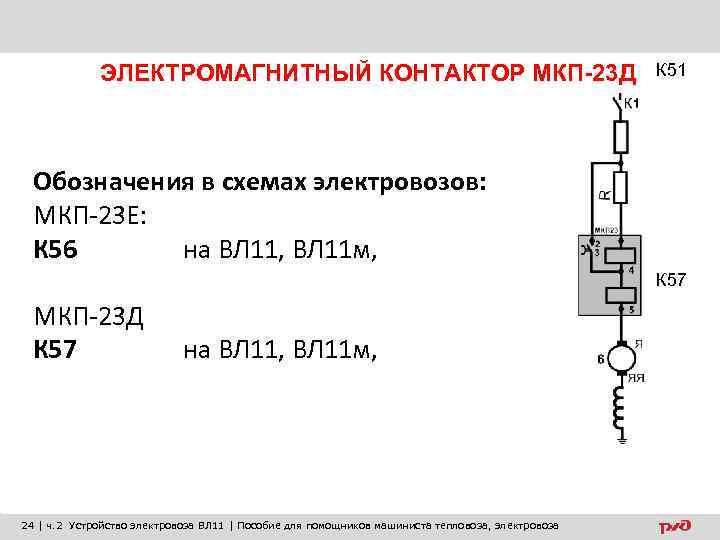 ЭЛЕКТРОМАГНИТНЫЙ КОНТАКТОР МКП-23 Д К 51 Обозначения в схемах электровозов: МКП-23 Е: К 56