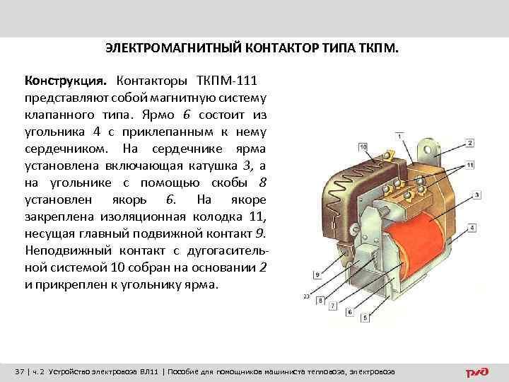 ЭЛЕКТРОМАГНИТНЫЙ КОНТАКТОР ТИПА ТКПМ. Конструкция. Контакторы ТКПМ-111 представляют собой магнитную систему клапанного типа. Ярмо
