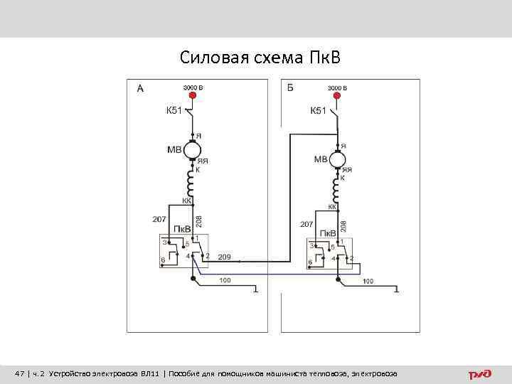 Силовая схема Пк. В 47 | ч. 2 Устройство электровоза ВЛ 11 | Пособие