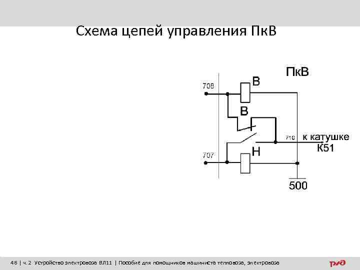Схема цепей управления Пк. В 48 | ч. 2 Устройство электровоза ВЛ 11 |
