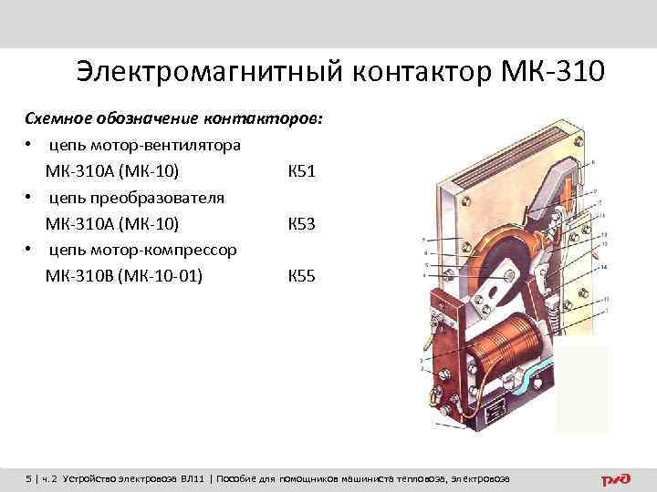 Электромагнитный контактор МК-310 Схемное обозначение контакторов: • цепь мотор-вентилятора МК-310 А (МК-10) К 51