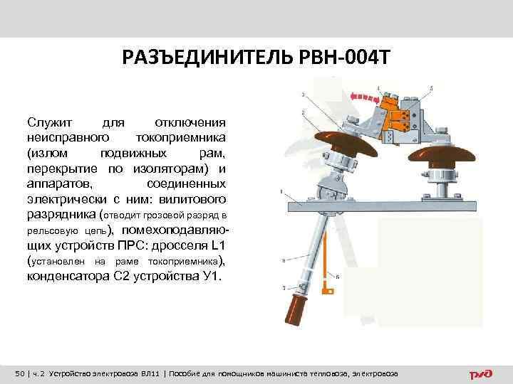 РАЗЪЕДИНИТЕЛЬ РВН-004 Т Служит для отключения неисправного токоприемника (излом подвижных рам, перекрытие по изоляторам)