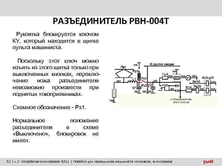 РАЗЪЕДИНИТЕЛЬ РВН-004 Т Рукоятка блокируется ключом КУ, который находится в щитке пульта машиниста. Поскольку