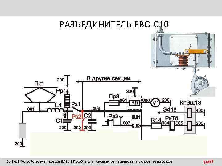 РАЗЪЕДИНИТЕЛЬ РВО-010 56 | ч. 2 Устройство электровоза ВЛ 11 | Пособие для помощников
