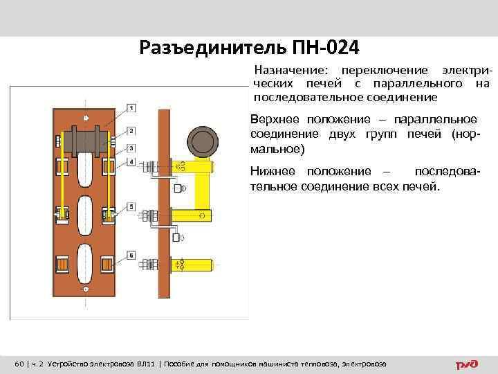 Разъединитель ПН-024 Назначение: переключение электрических печей с параллельного на последовательное соединение Верхнее положение –