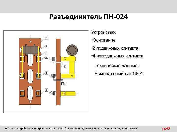 Разъединитель ПН-024 Устройство: • Основание • 2 подвижных контакта • 4 неподвижных контакта Технические