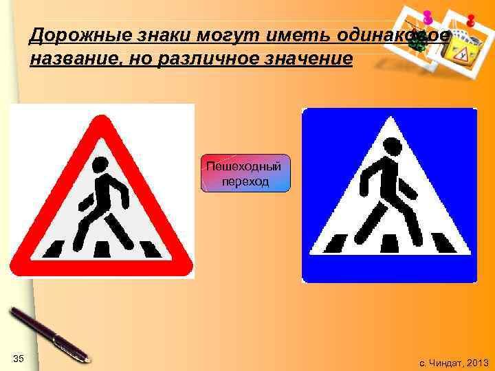 Дорожные знаки могут иметь одинаковое название, но различное значение Пешеходный переход 35 с. Чиндат,