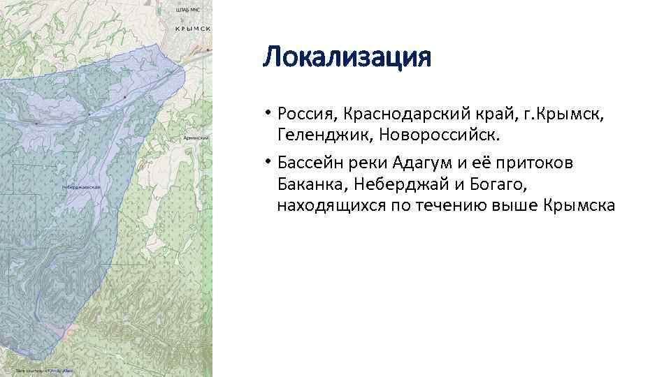 Локализация • Россия, Краснодарский край, г. Крымск, Геленджик, Новороссийск. • Бассейн реки Адагум и