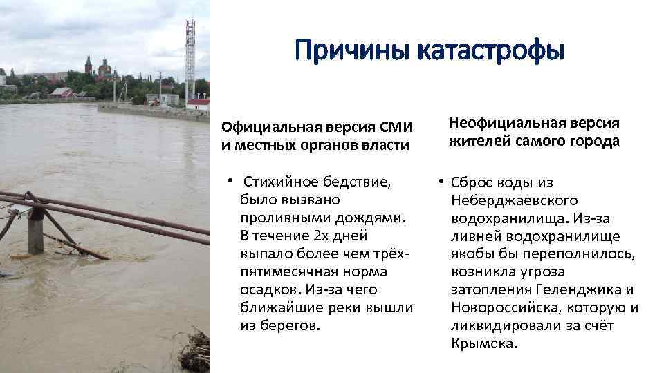 Причины катастрофы Официальная версия СМИ и местных органов власти • Стихийное бедствие, было вызвано