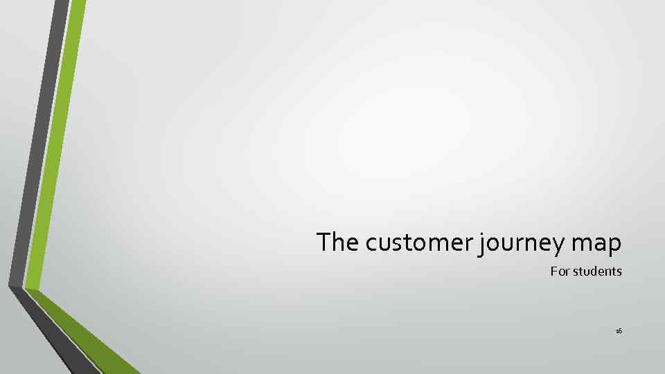 The customer journey map For students 16