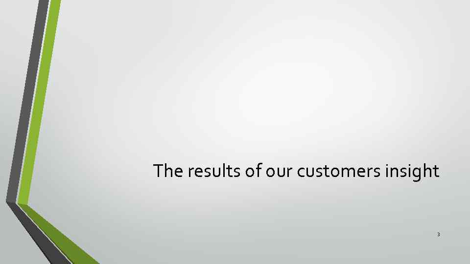 The results of our customers insight 3