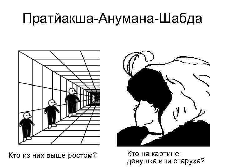 Пратйакша-Анумана-Шабда Кто из них выше ростом? Кто на картине: девушка или старуха?