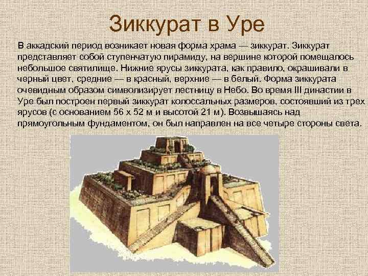 Зиккурат в Уре В аккадский период возникает новая форма храма — зиккурат. Зиккурат представляет