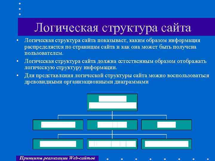 Логическая структура сайта • Логическая структура сайта показывает, каким образом информация распределяется по страницам