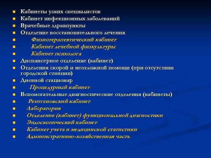 n n n n n Кабинеты узких специалистов Кабинет инфекционных заболеваний Врачебные здравпункты Отделение
