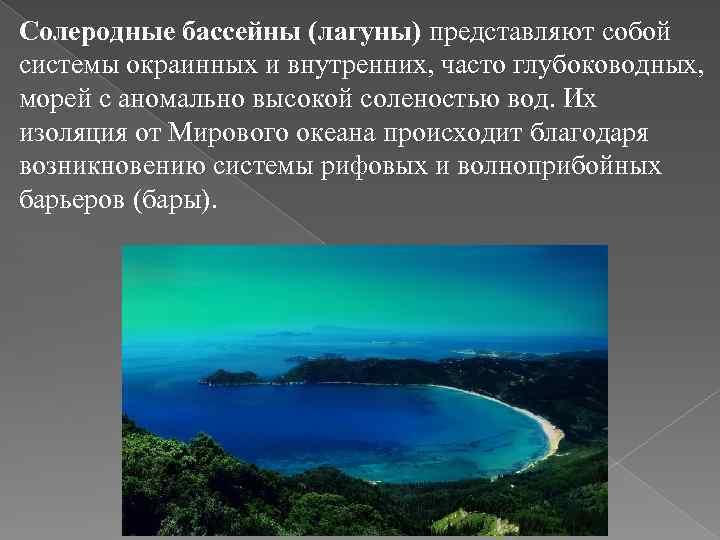 Солеродные бассейны (лагуны) представляют собой системы окраинных и внутренних, часто глубоководных, морей с аномально