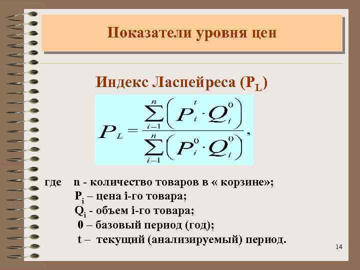 Показатели уровня цен Индекс Ласпейреса (PL) где n - количество товаров в « корзине»