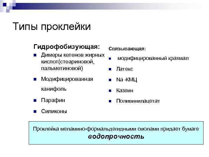 Типы проклейки Гидрофобизующая: n Димеры кетенов жирных кислот(стеариновой, пальметиновой) Связывающая: n модифицированный крахмал n