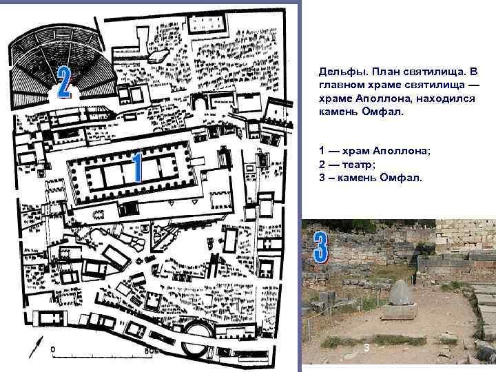 Дельфы. План святилища. В главном храме святилища — храме Аполлона, находился камень Омфал. 1