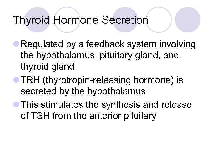 Thyroid Hormone Secretion l Regulated by a feedback system involving the hypothalamus, pituitary gland,