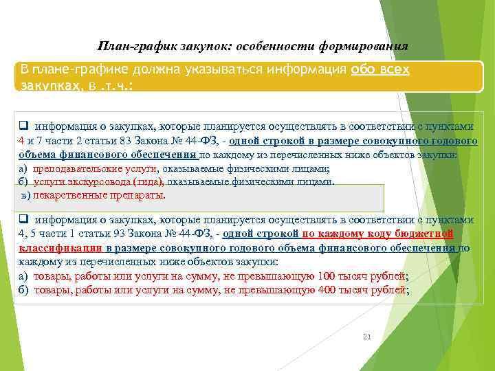План-график закупок: особенности формирования В плане-графике должна указываться информация обо всех закупках, в. т.