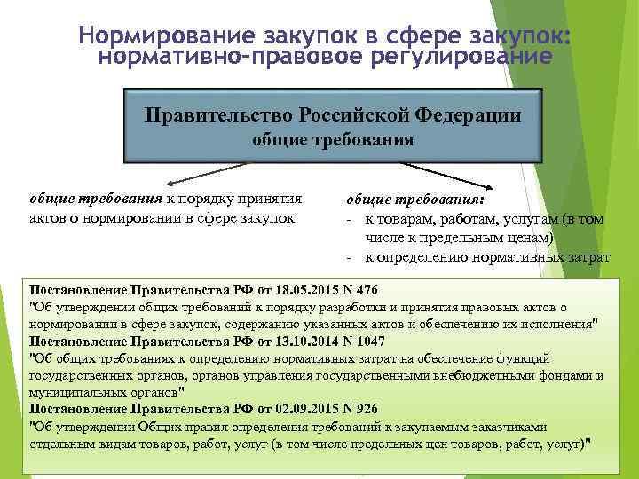 Нормирование закупок в сфере закупок: нормативно-правовое регулирование Правительство Российской Федерации общие требования к порядку