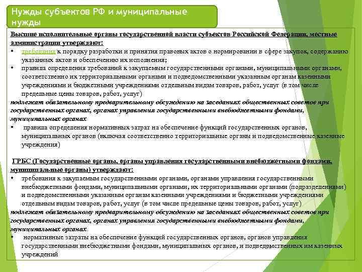 Нужды субъектов РФ и муниципальные нужды Высшие исполнительные органы государственной власти субъектов Российской Федерации,