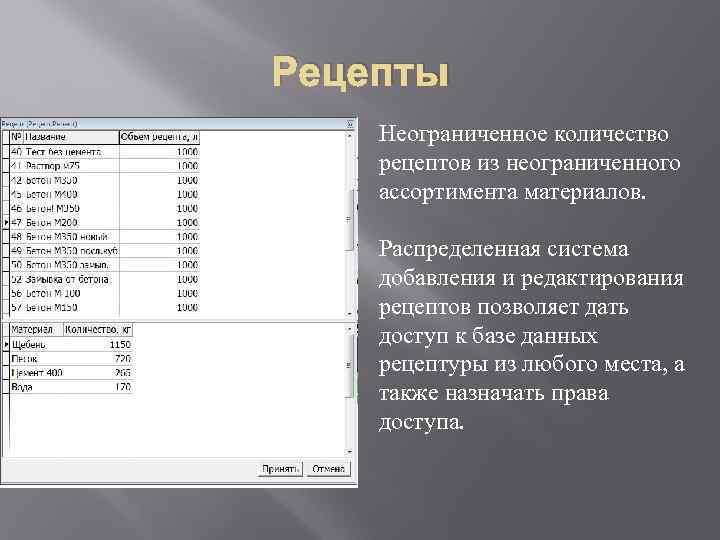 Рецепты Неограниченное количество рецептов из неограниченного ассортимента материалов. Распределенная система добавления и редактирования рецептов