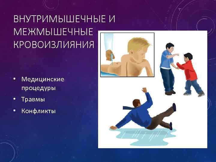 ВНУТРИМЫШЕЧНЫЕ И МЕЖМЫШЕЧНЫЕ КРОВОИЗЛИЯНИЯ • Медицинские процедуры • Травмы • Конфликты