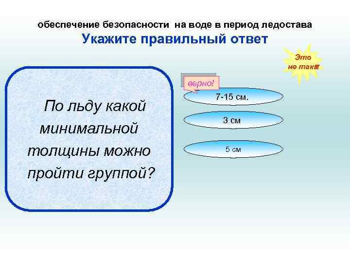 обеспечение безопасности на воде в период ледостава Укажите правильный ответ Это не так!!! верно!
