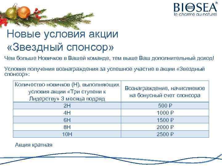 Новые условия акции «Звездный спонсор» Чем больше Новичков в Вашей команде, тем выше Ваш
