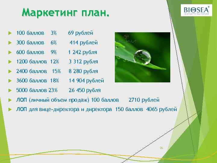 Маркетинг план. 100 баллов 3% 69 рублей 300 баллов 6% 414 рублей 600 баллов