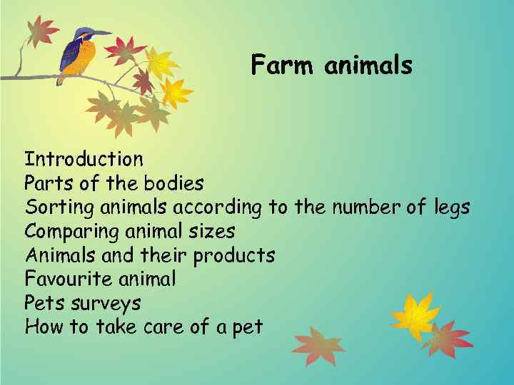 Farm animals Introduction Parts of the bodies Sorting animals according to the number of