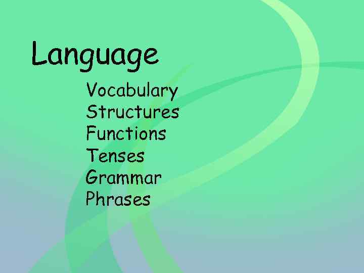 Language Vocabulary Structures Functions Tenses Grammar Phrases