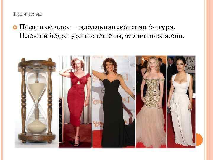 ТИП ФИГУРЫ Песочные часы – идеальная женская фигура. Плечи и бедра уравновешены, талия выражена.