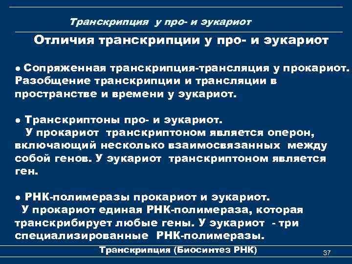 Транскрипция у про- и эукариот Отличия транскрипции у про- и эукариот ● Сопряженная транскрипция-трансляция