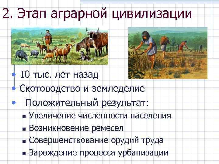 2. Этап аграрной цивилизации • 10 тыс. лет назад • Скотоводство и земледелие •