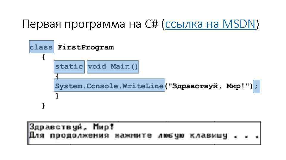 Первая программа на C# (ссылка на MSDN)