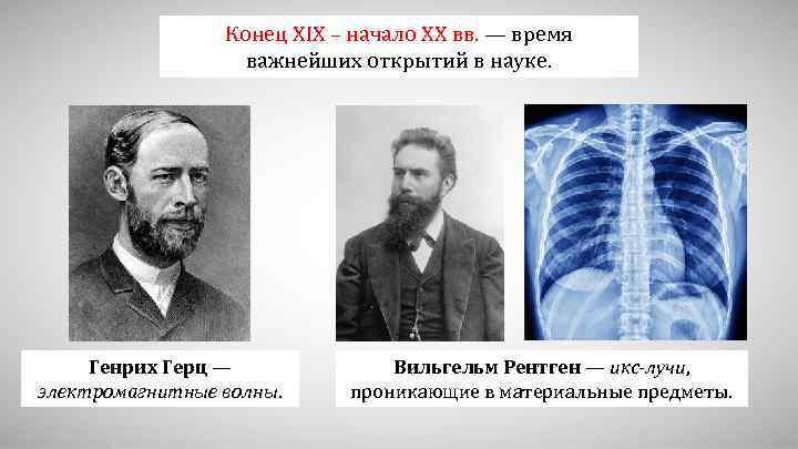 Конец XIX – начало XX вв. — время важнейших открытий в науке. Генрих Герц