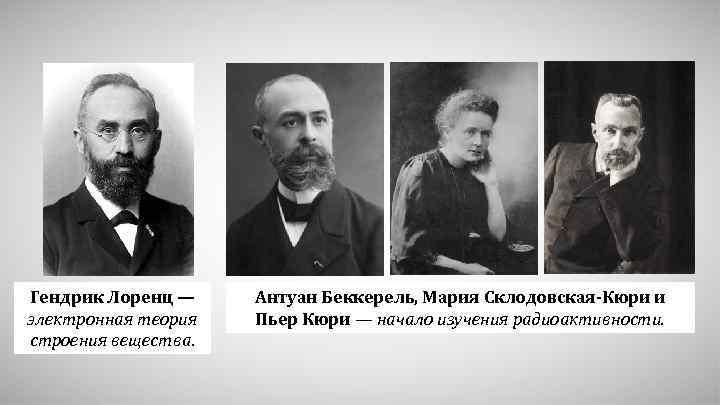 Гендрик Лоренц — электронная теория строения вещества. Антуан Беккерель, Мария Склодовская-Кюри и Пьер Кюри