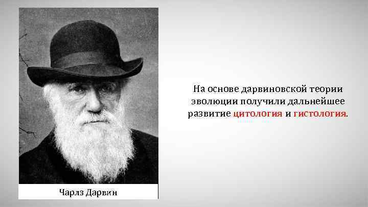 На основе дарвиновской теории эволюции получили дальнейшее развитие цитология и гистология. Чарлз Дарвин