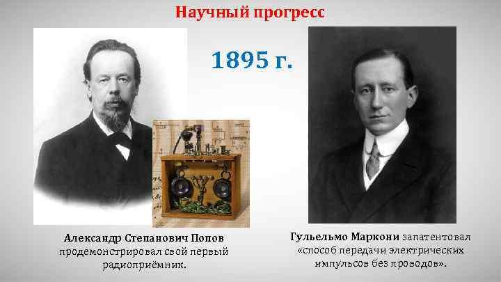 Научный прогресс 1895 г. Александр Степанович Попов продемонстрировал свой первый радиоприёмник. Гульельмо Маркони запатентовал