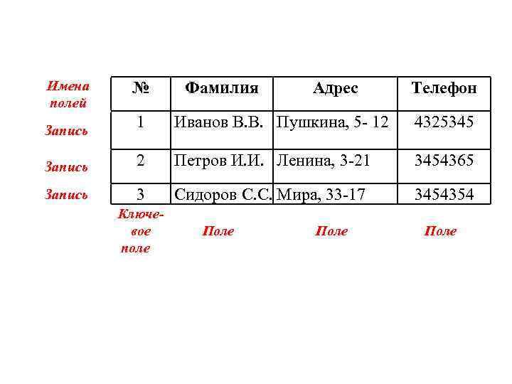 Имена полей № Фамилия Адрес Телефон 1 Иванов В. В. Пушкина, 5 - 12