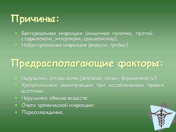 Причины: § Бактериальная инфекция (кишечная палочка, протей, стафилококк, энтерококк, сальмонелла); § Небактериальная инфекция (вирусы,