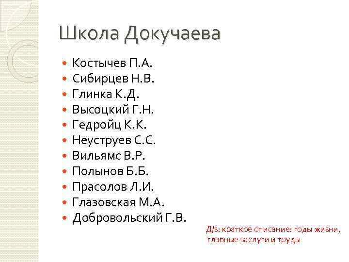 Школа Докучаева Костычев П. А. Сибирцев Н. В. Глинка К. Д. Высоцкий Г. Н.