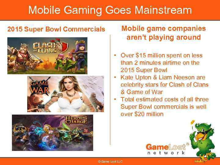 Mobile Gaming Goes Mainstream 2015 Super Bowl Commercials Mobile game companies aren't playing around